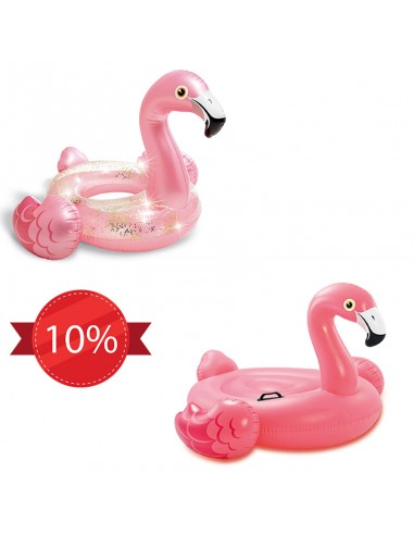 Pack Flamant - Bouée Flamant rose glitter + Flamant rose à chevaucher Intex - 1